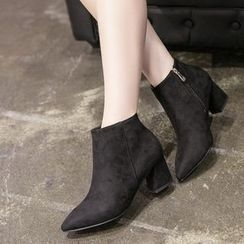 Monde - Block Heel Pointy Ankle Boots