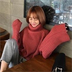 QNIGIRLS - Turtle-Neck Rib-Knit Sweater
