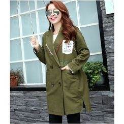 Mariposa - Applique Double Breasted Trench Coat