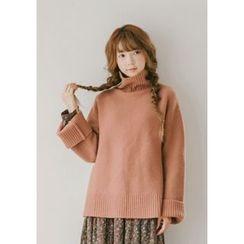 GOROKE - Turtle-Neck Wool Blend Sweater