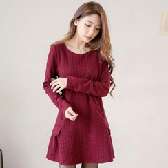 Tokyo Fashion - Long-Sleeve Embossed Skater Dress