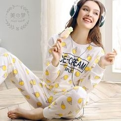Mydream - Loungewear Set: Ice Cream Print Pullover + Pants