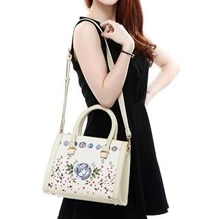 Axixi - Faux-Leather Floral Satchel