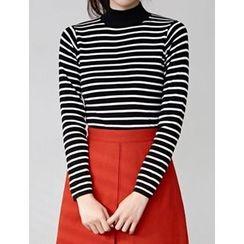 FROMBEGINNING - Mock-Neck Striped T-Shirt