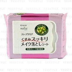 Kracie - Naive 清潔角質死皮層卸妝紙 - 清爽 (橄欖味) (粉紅色)