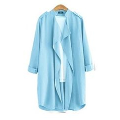 Eloqueen - Long-Sleeve Plain Open-Front Jacket