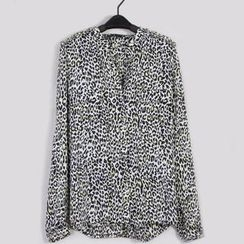 Flower Idea - Leopard-Print Studded Chiffon Blouse