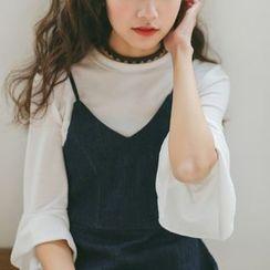 Suyisoda - 纯色喇叭袖T恤