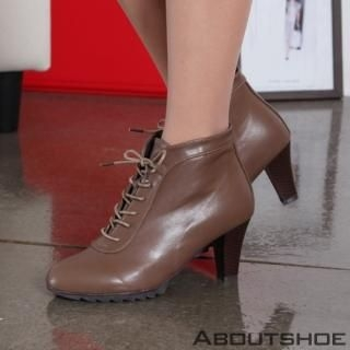 ABOUTSHOE - Lace-Up Zip-Side Boots