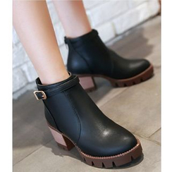 Freesia - Buckled Chunky Heel Ankle Boots