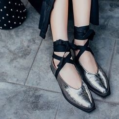 JY Shoes - Lace-Up Genuine Leather Flats