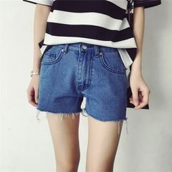Kojasmine - Fray-Hem Denim Shorts