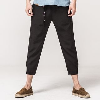Ashen - Drawstring Cropped Pants