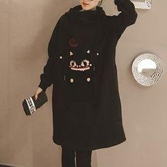 Fashion Street - Pompom Cat Applique Hoodie Dress