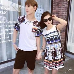 Lovebirds - Couple Sleeveless Printed Dress / Printed T-Shirt