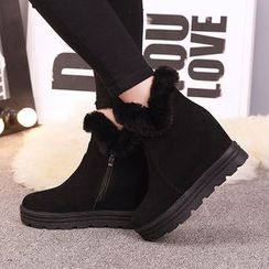 One100 - Platform Furry-Trim Ankle Boots