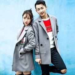 Igsoo - Couple Matching Applique Knit Coat