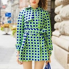 SEYLOS - Double-Breasted Polka Dot Trench Coat