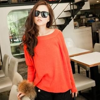 PUFII - Long-Sleeve Crew-Neck Knit Top