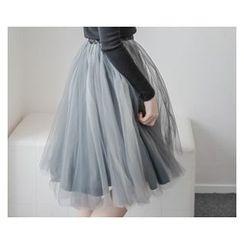 demavie - Tulle Midi Skirt