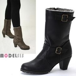MODELSIS - Faux-Fur Buckled Boots