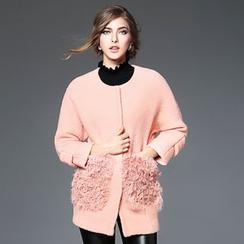 歐依潮派 - 羊毛混紡飾口袋按扣外套