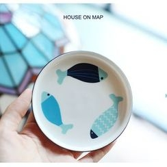 house on map - Fish Print Plate
