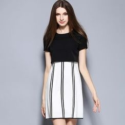 Cherry Dress - Short-Sleeve Pinstriped Panel Dress