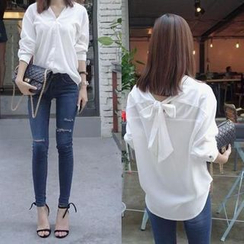 EFO - Self-Tie V-Neck Blouse