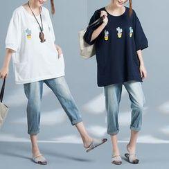 Diosa - 3/4-Sleeve Printed T-Shirt