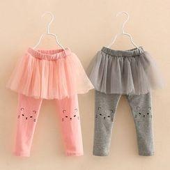 Seashells Kids - Kids Inset Tulle Skirt Leggings