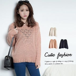 CUTIE FASHION - Open-Knit Sweater