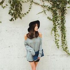 ERANZI - Cutout-Shoulder Knit Top