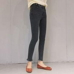 MATO - Frayed Hem Skinny Jeans