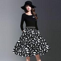 Elabo - Feather Print Mock Two-Piece Midi Dress