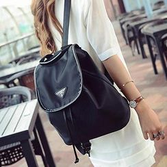 Youme - Drawstring Flap Canvas Backpack