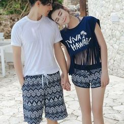 ENFOQUE - Couple Matching Patterned Swim Shorts / Set: Bikini + Cover-up