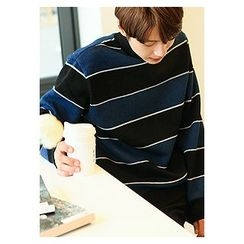 HOTBOOM - Mock-Neck Brushed-Fleece Stripe Sweatshirt