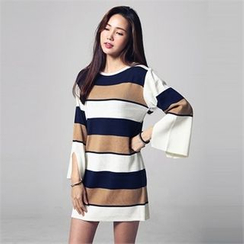JVLLY - Slit-Cuff Color-Block Knit Mini Dress
