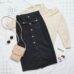 CaraMelody - Denim Button Midi Skirt