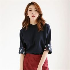 MAGJAY - Mock-Neck Bird Pattern-Lined Top