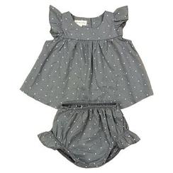 Debii - Kids Set: Dotted Frilled Top + Shorts