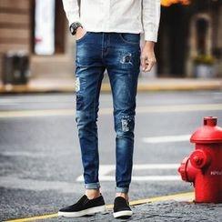 Besto - 拼布窄身牛仔褲