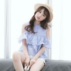 Tokyo Fashion - Round Collar Cutout Shoulder Ruffle Trim Shirt