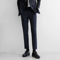 Seoul Homme - Pinstriped Straight-Cut Dress Pants