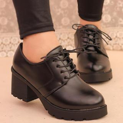 IYATO - Chunky-Heel Lace-Up Shoes