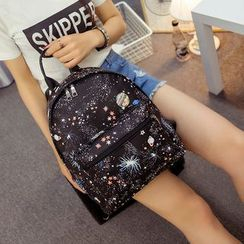 Seok - Galaxy Print Faux Leather Backpack