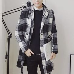 Bay Go Mall - Plaid Double Breasted Coat