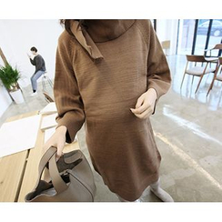 MARSHMALLOW - Maternity Wool Blend Knit Dress with Scarf