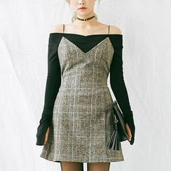 chuu - Spaghetti-Strap Glen-Plaid Wool Blend Mini Dress